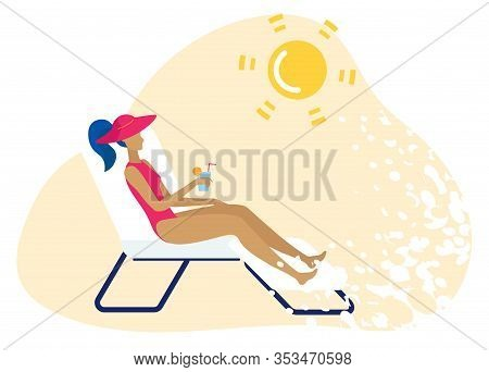 Bright Poster Beach Chair On Beach Cartoon Flat. Good Rest And Relaxation During Holidays. Tanned Gi