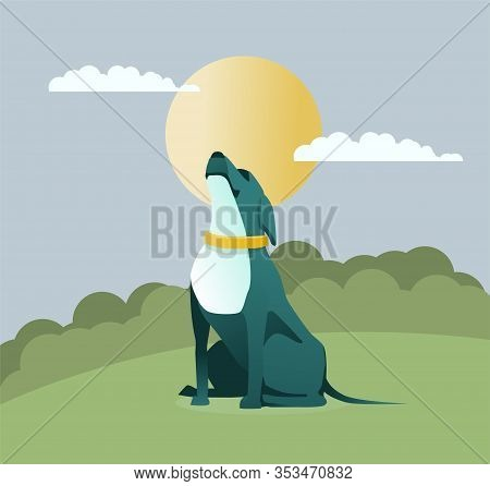 Cartoon Dog Animal Character In Yellow Collar Howls At Moon. Night Sky, Glade In Forest, Park. Worki