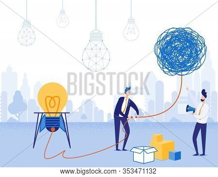 Businessmen Check Solution Or Idea Startup For Operability. Cartoon Ropes Skein With Outlet At End.