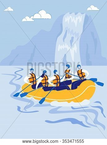 Highlands With River And Waterfall Landscape In Vertical Format. Rafting Athletes, Sportsmen Rafting