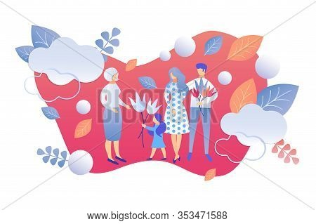 Happy Family Of Mother, Father And Little Kids Give Flowers To Senior Woman, On Abstract Background