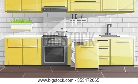 Kitchen Interior In Apartment Or House Flat Cartoon Vector Illustration. Modern Furniture And Kitche