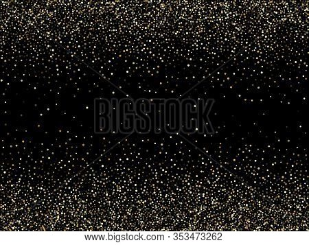 Gold Sparkles Glitter Dust Metallic Confetti Vector Background. Chic Golden Sparkling Background. Go