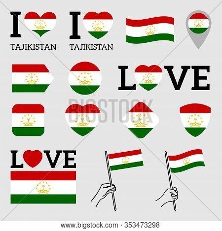 Flag Of Tajikistan. Set Of Vector Flags Of Various Shapes. I Love Tajikistan. Eps Illustration. Isol