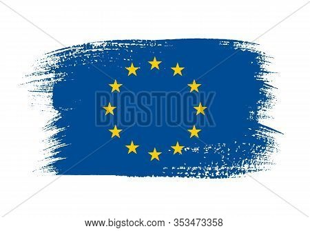 European Union Official Flag In Shape Of Paintbrush Stroke. European Political And Economic Union Id