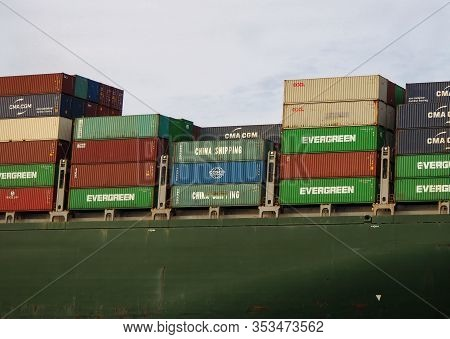 Savannah, Georgia - February 22, 2020: Large Shipping Containers From Many Different Shipping Compan