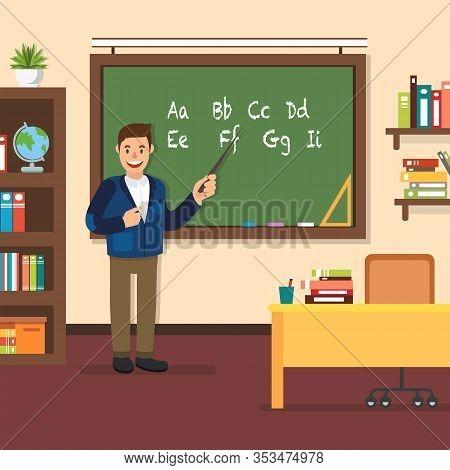Teacher Stand In Blackboard In Classroom. Show Pointer On Board In Classroom. School Education. Man