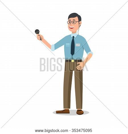 Reporter With Microphone. Man In Shirt And Tie. Television Studies Report. White Background. Televis