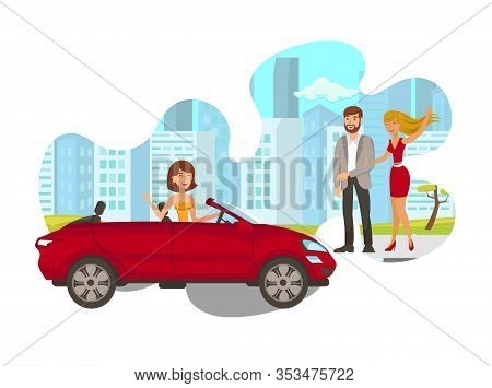 Young Woman In Car Flat Isolated Vector Illustration. Happy Lady Driving Vehicle, Waving To Girlfrie