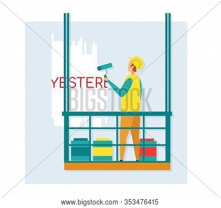 Worker Painting Wall Standing In Building Gondola. Builder Wearing Uniform And Helmet Paint Over Wor