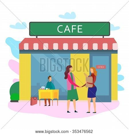 Woman Shake Hand Female Carterer Client Table Vector Illustration. Cafe Open Hire Employee Cook Work