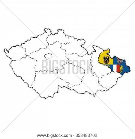 Moravian Silesian Region On Administration Map Of Czech Republic