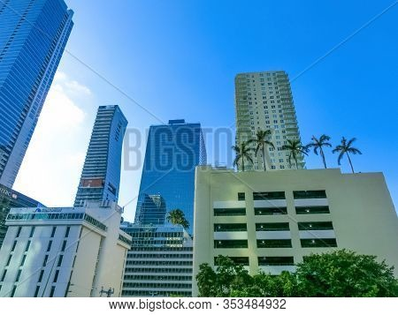 Miami, Usa - November 30, 2019: Downtown Miami Cityscape View With Condos And Office Buildings Again