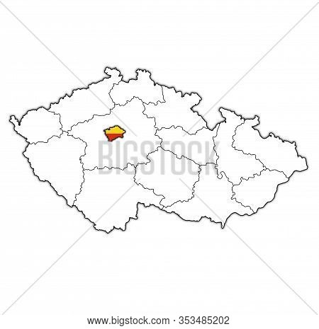 Prague Region On Administration Map Of Czech Republic