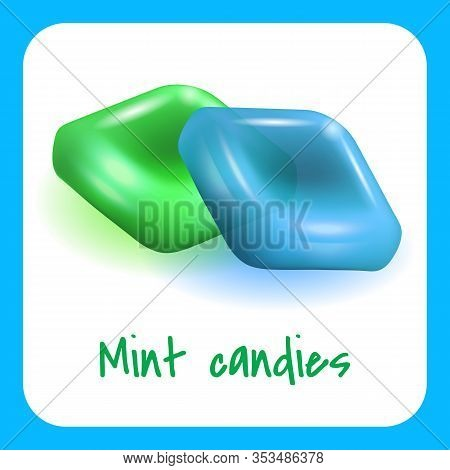 Green And Blue Mint Candies On White Background. Natural Mint Candy. Vector Illustration. Nature Com