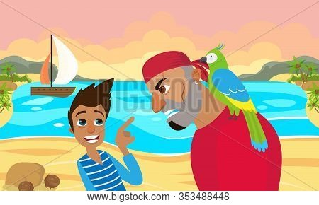 Movie Scene Scared Guy Speaking With Angry Bearded Grinning Teeth Pirate With Parrot On Shoulder On