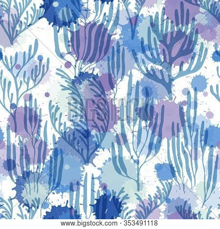 Coral Polyps Seamless Pattern. Paint Splashes Drops Watercolor Background. Exotic Marine Life Patter