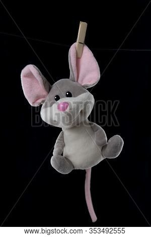 The Toy Is Hanging On A Clothespin And Dries, Clothespins In A Plate Or Bowl, On A White And Black B