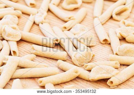 Homemade Raw Apulian Pasta Background Of Italian Pasta Called Orecchiette And Maccheroni Typical Dis