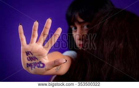 Young Hispanic Woman Campaigning Against Gender Based Violence