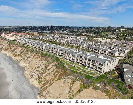 Aerial View Of Condo Community Next To The Beach And Sea In South California. Solana Beach. Usa