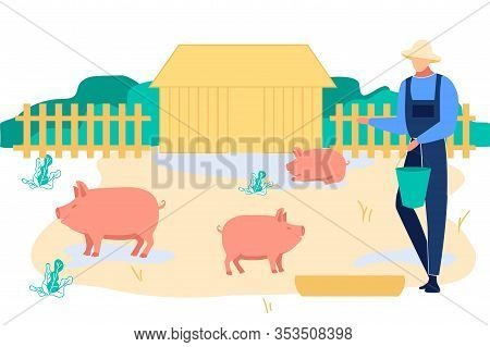 Young Man Feeding Pigs Putting Grain In Trough. Farmer Character At Work Process Caring Of Domestic