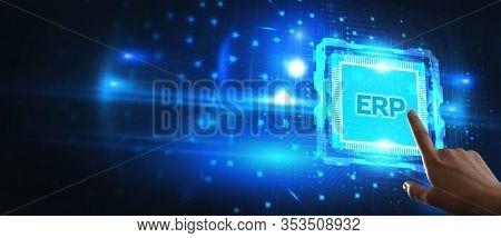 Enterprise Resource Planning Erp Concept. Businessman Click On Erp Business Management Software Butt
