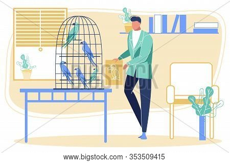 Elegant Bearded Man Holding Picture Of Parrot Showing It To Birds Sitting In Cage. Character And His
