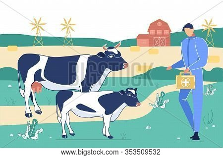 Veterinarian Doctor Character With Medical Bag Visiting Cow And Calf On Farm Domestic Animal Husband