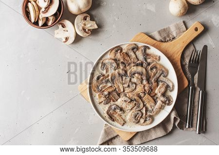 Stewed Mushrooms In Sour Cream With Portulak.fresh Mushroom Stew With Vegetables.