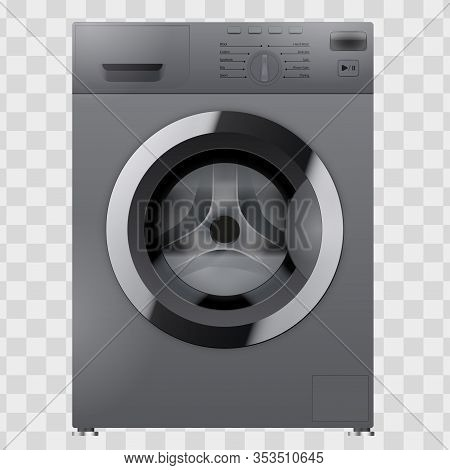 Modern Silver Washing Machine. Household Appliances. Vector Illustration Isolated On Transparent Bac