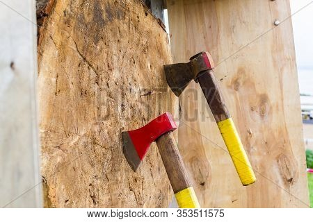 Blurred Background, Throwing Ax, Axes In A Tree, Throw Stump