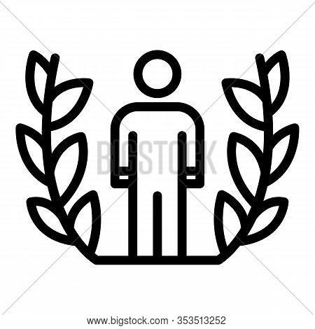 Laurel Excellence Man Icon. Outline Laurel Excellence Man Vector Icon For Web Design Isolated On Whi