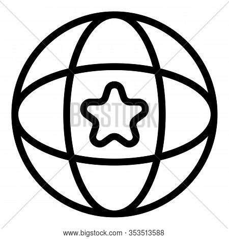 Global Star Excellence Icon. Outline Global Star Excellence Vector Icon For Web Design Isolated On W