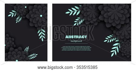 Set black abstarct pattern with stylized decorative flowers, mint leaves. Background Of Gradient Smooth Background Texture On Elegant Rich Luxury Background Web Template Or Website Abstract Background minimalist black Background flowers, mint leaves Paper