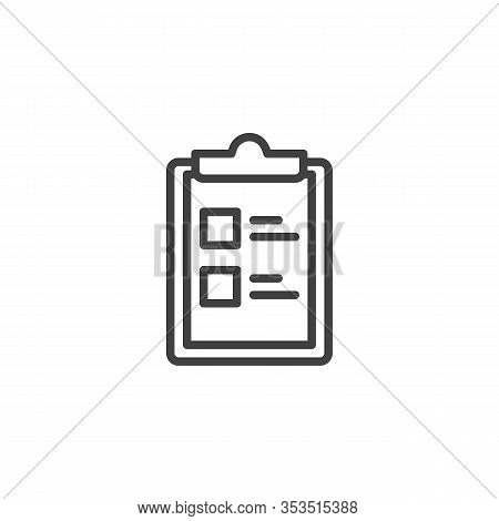 Questionnaire List Line Icon. To Do List Linear Style Sign For Mobile Concept And Web Design. Checkl