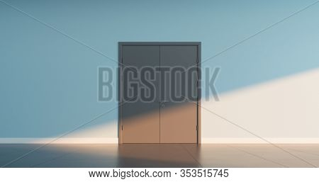 Double closed door, on empty wall of a public space interior. 3D render