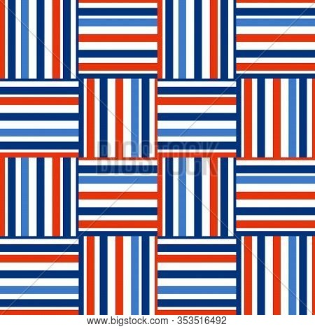 Checkered Pattern. Horizontal And Vertical Stripes Of Different Widths. Blue, Light Blue, Orange Col