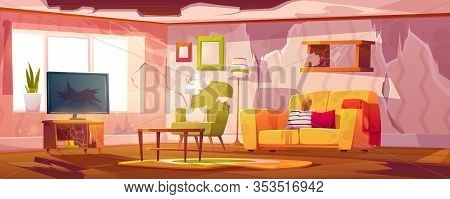 Old Dirty Living Room With Broken Furniture. Vector Cartoon Illustration Of Empty Abandoned Home Int