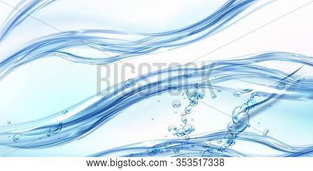 Fresh Clean Water Flowing Wave With Bubbles And Drops. Vector Illustration With Realistic Clear Blue