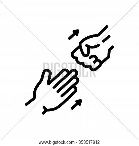 Black Line Icon For Abandon Demit Renounce Repudiate Relinquish Hand Leave Go-away
