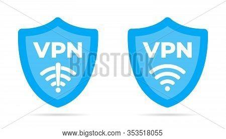 Wireless Shield Vpn Wifi And No Vpn Icon Sign Flat Design Vector Illustration Set. Wifi Internet Sig