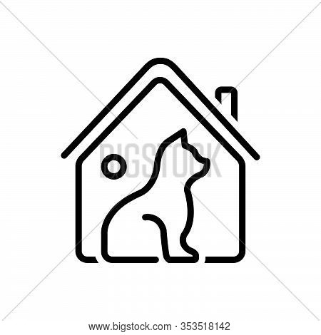 Black Line Icon For Habitat Domain Haunt Home Cottage  Dog Pet Domestic