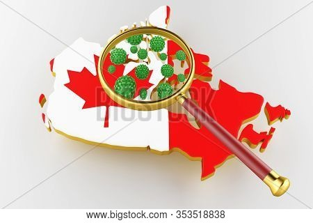 Contagious Hiv Aids, Flur Or Coronavirus With Canada Map. Coronavirus From Chine. 3d Rendering