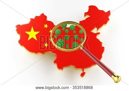 Contagious Hiv Aids, Flur Or Coronavirus With China Map. Coronavirus From Chine. 3d Rendering