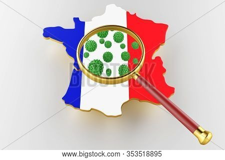 Contagious Hiv Aids, Flur Or Coronavirus With France Map. Coronavirus From Chine. 3d Rendering
