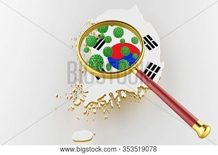 Contagious Hiv Aids, Flur Or Coronavirus With South Korea Map. Coronavirus From Chine. 3d Rendering
