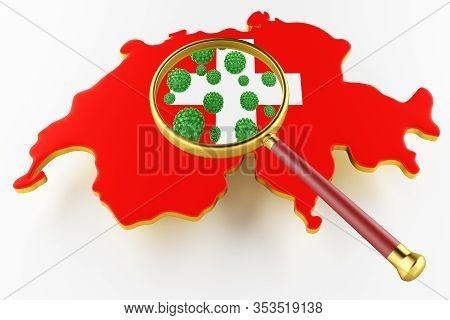 Contagious Hiv Aids, Flur Or Coronavirus With Switzerland Map. Coronavirus From Chine. 3d Rendering