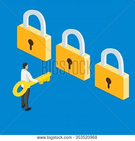 3d Isometric Businessman Holding Golden Key And Thinking In Front Of Three Golden Lock. Business Cho
