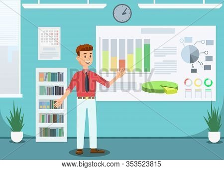 Businessman Showing Growing Infographic Banner Vector Illustration. Successful Smiling Cartoon Male